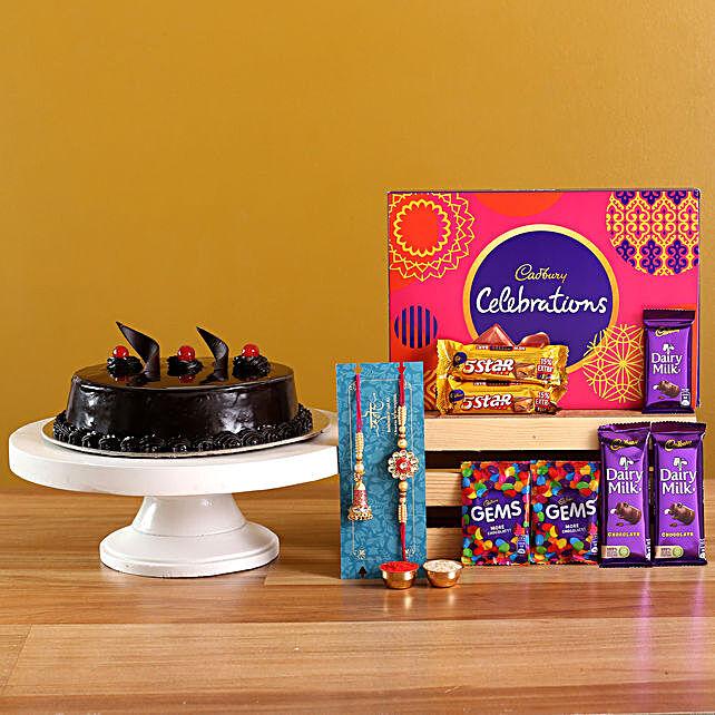 Lumba Rakhi Set N Truffle Cake With Chocolates