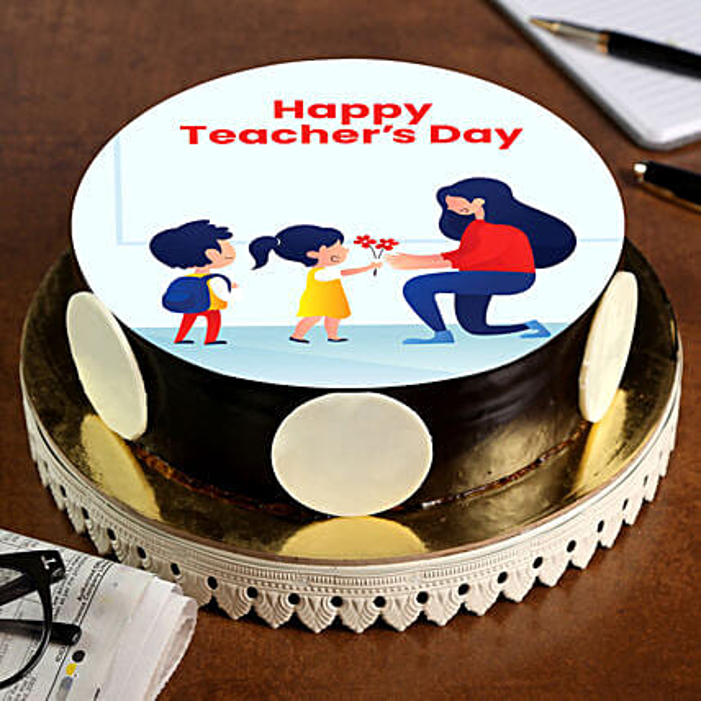 Teachers Day Special Chocolate Photo Cake