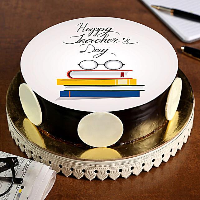 Teachers Day Yummy Chocolate Photo Cake