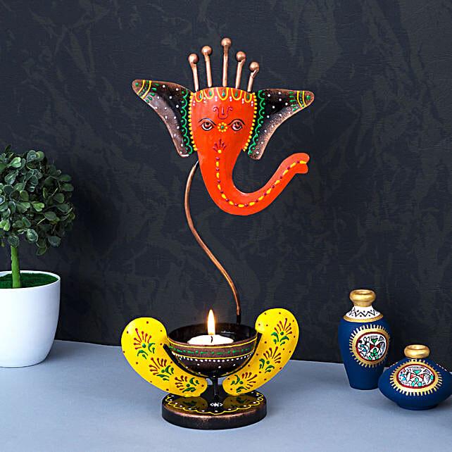 Ganesha Metal Tea Light Candle Holder