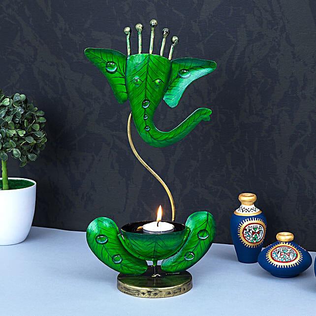 Green Ganesha Tea Light Candle Holder
