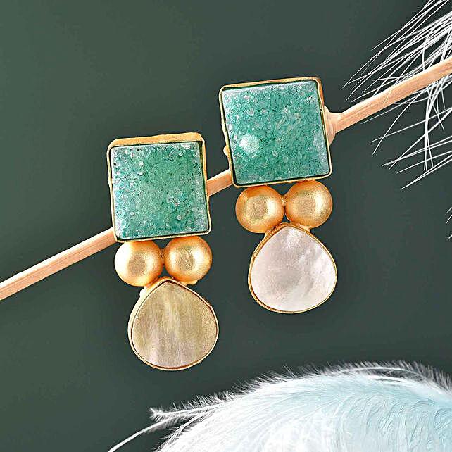 Green Druzy Stone Gold Polished Earrings