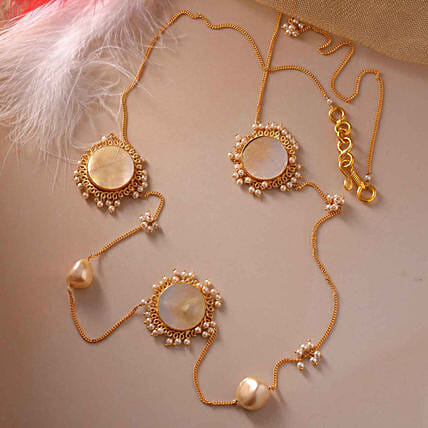 Yellow Baroque Pearl Necklace