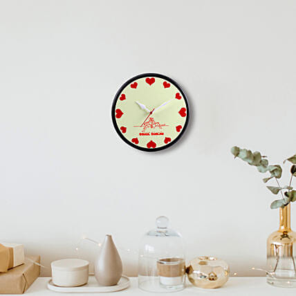 Personalised Red Hearts Wall Clock