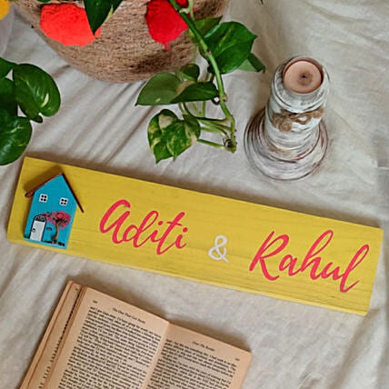 Personalised Wooden Yellow Name Plate