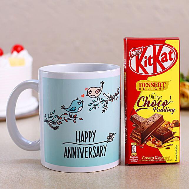 Happy Anniversary White Mug & Kitkat Choco Pudding