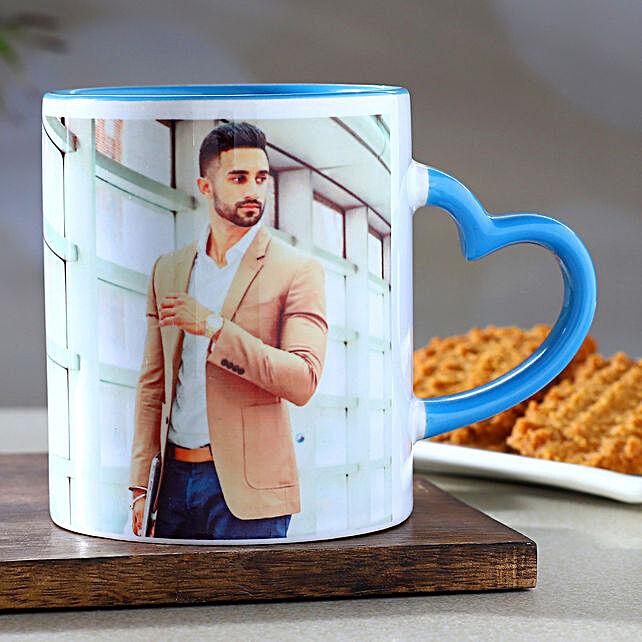 Personalised Blue Heart Handle Mug