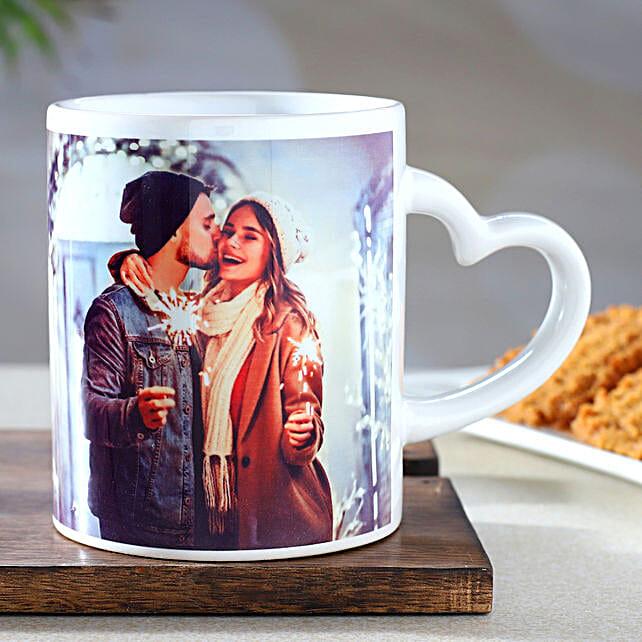 Personalised White Heart Handle Mug