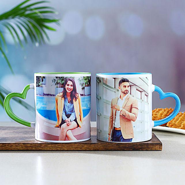 Set Of 2 Personalised Heart Handle Mugs