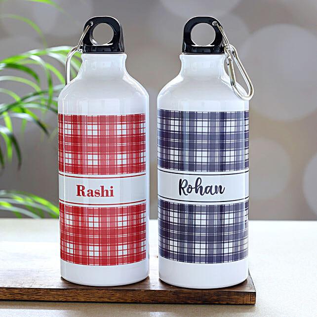 Set Of 2 White Personalised Water Bottles