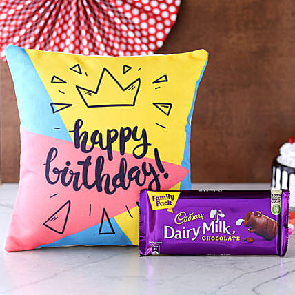 Birthday Special Cushion N Dairy Milk Chocolate:Gift Combos