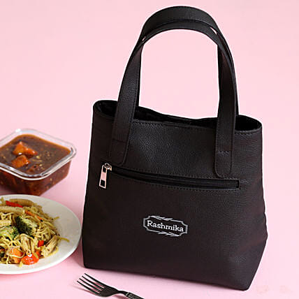 Personalised Leather Black Lunch Box