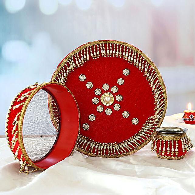 Latkan Pearl Thali Set:Karwa Chauth Thali Buy