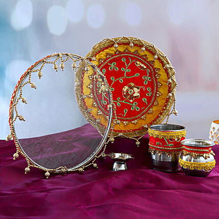 Red and Yellow Thali Set