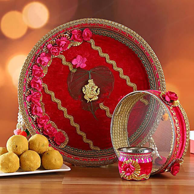 Red Floral Ganesha Thali Set and Besan Laddoo:Karwa Chauth Sargi