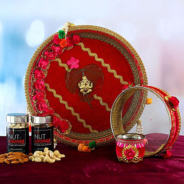 Red Floral Ganesha Thali Set and Dry Fruits