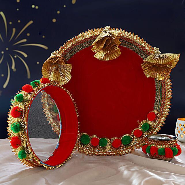 Red Gota Pom Pom Thali Set