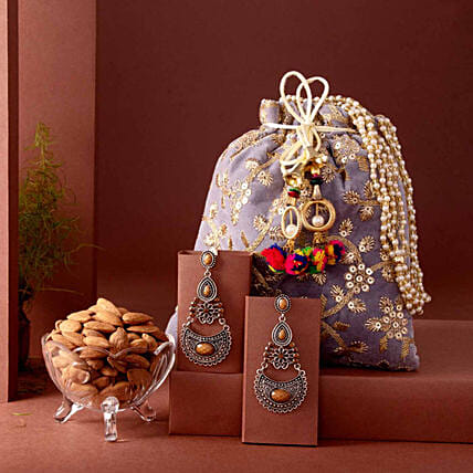 Embroidered Potli Bag With Earrings and Almonds