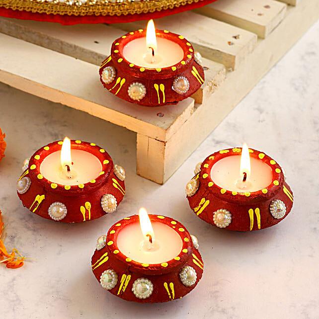Decorated Matki Diwali Diyas Set