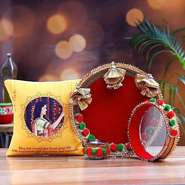 Happy Karwa Chauth Personalised Cushion and Thali Set