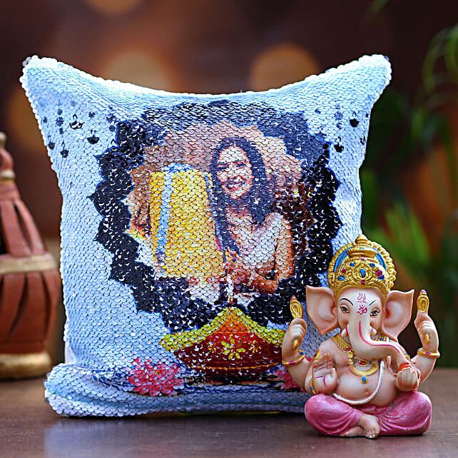 Personalised Diwali Sequin Cushion and Ganesha Idol