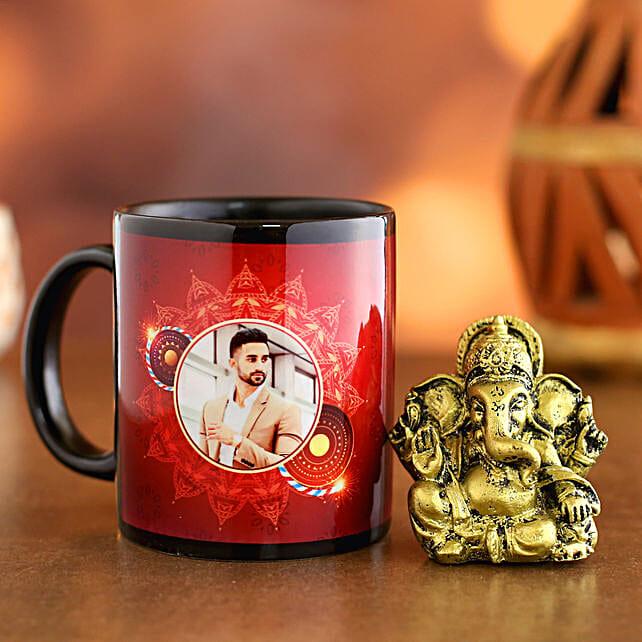 Personalised Happy Diwali Black Mug and Ganesha Idol