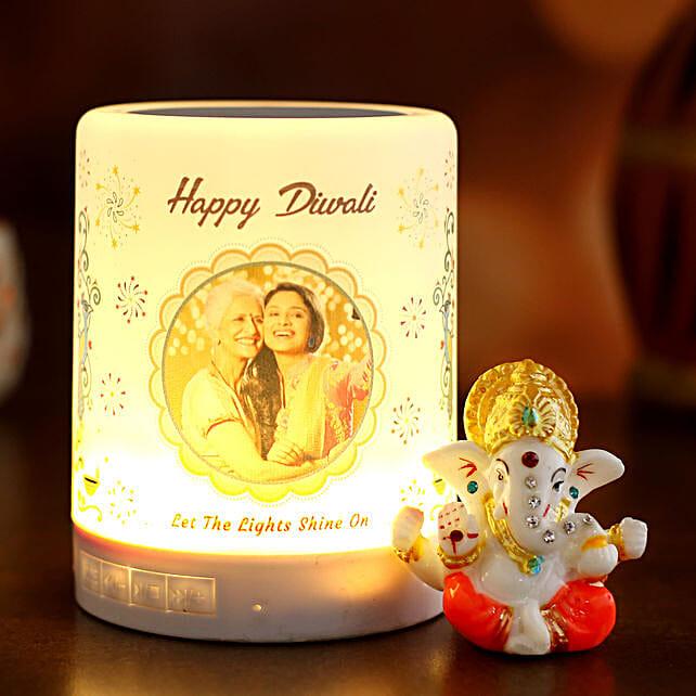 Personalised Happy Diwali LED Speaker and Ganesha Idol