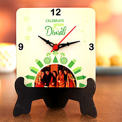 Personalized Happy Diwali Table Clock:Personalized Diwali Gifts