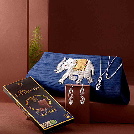 Zari Clutch and Necklace Set With Bournville:All Gifts Karwa Chauth