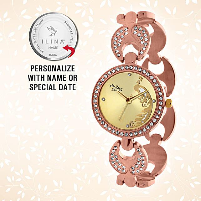 Ilina Rose Gold Mughal Design Personalised Watch