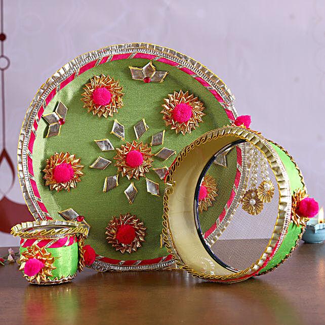 Green Gota Work Thali Set:Karwa Chauth Thali Buy