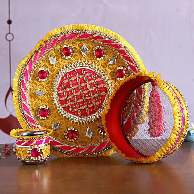 Yellow and Pink Gota Work Thali Set