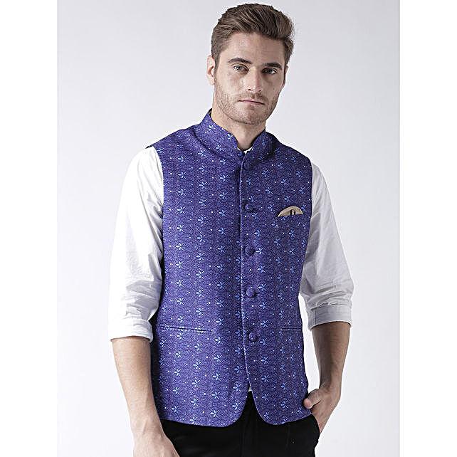 Traditional Blue Printed Waistcoat
