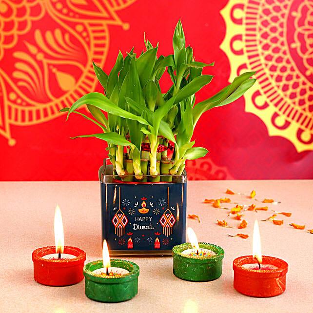 Bamboo Plant Happy Diwali Pot & Tealight Diyas