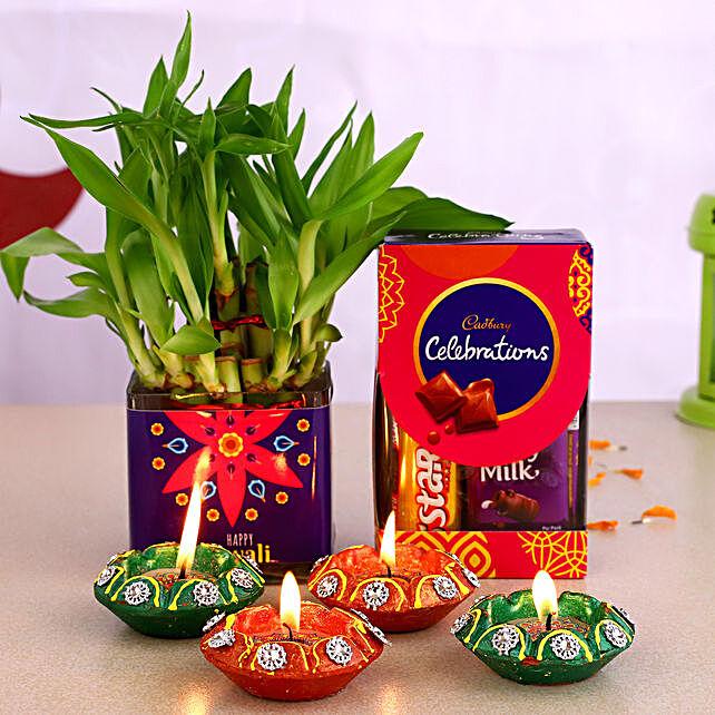 Bamboo Plant Happy Diwali Pot With Diyas & Chocolates