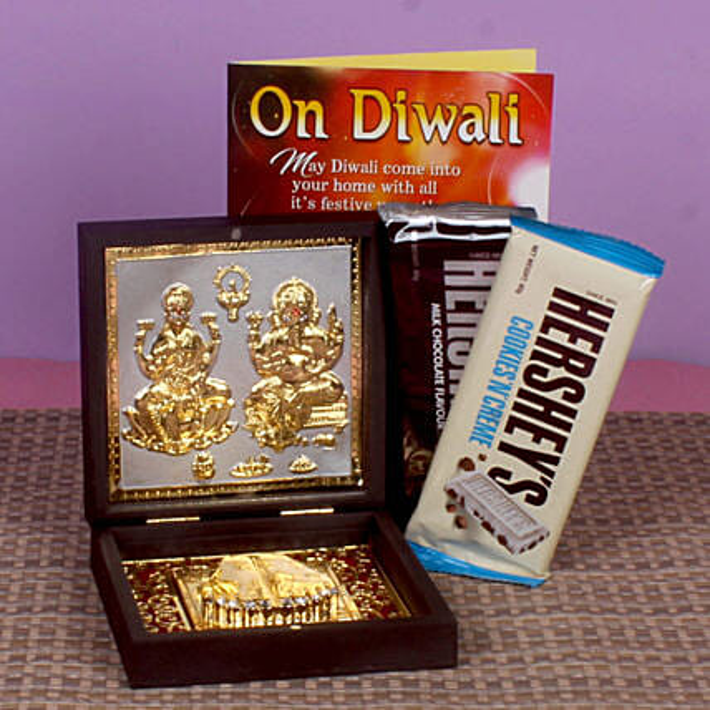 Joyous Diwali Lakshmi Ganesha Photo Box & Chocolates