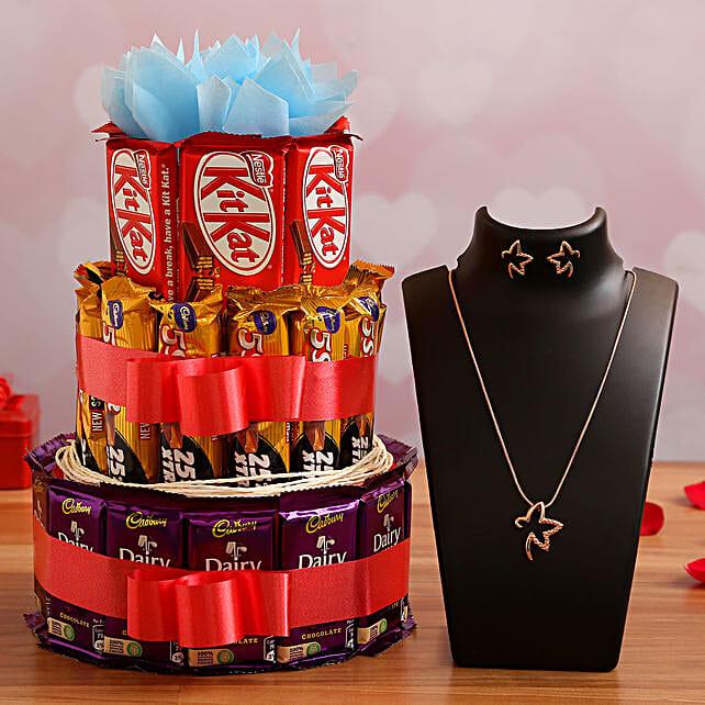 Valentine Chocolates & Necklace Combo