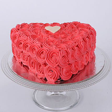 Hot Red Heart Cake 1kg:Rose Cakes