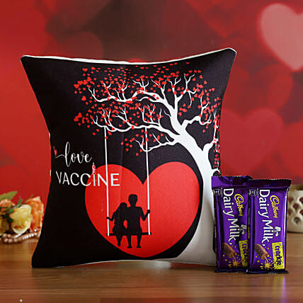 V'Day Special Love Vaccine Cushion & Cadbury Crackle- Hand Delivery:Valentines Day Gifts for Husband
