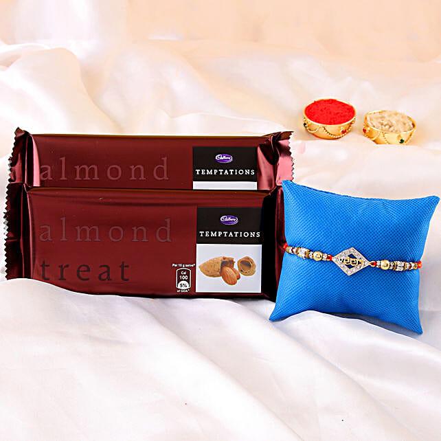 online Veera Rakhi & Temptations Chocolate:American Diamond Rakhi