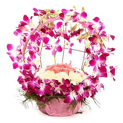 Vibrant Orchid Celebration - Bouquet of 12 Purple Orchids, 10  Carnations and 6 Pink Roses.