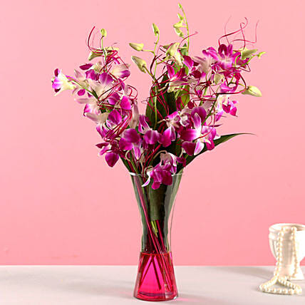 Orchid Arrangement for Her:Flower Vase Arrangements
