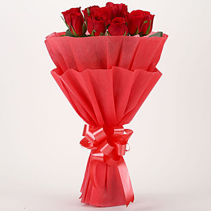 Vivid - Bunch of 10 Red Roses Flowers Gifts.:Gifts Delivery In Narikalbari