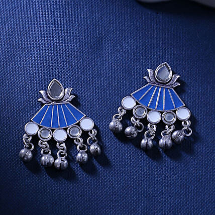 Ethnic Oxidized Silver Earrings:Send Jewellery Gifts