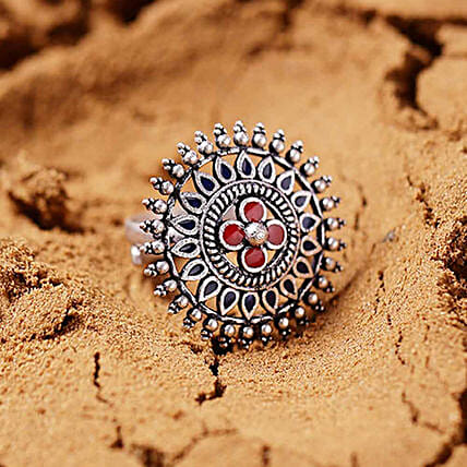 Silver Plated Mandala Ring