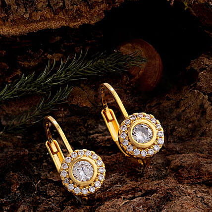 Zircon Gems Adorned Earrings