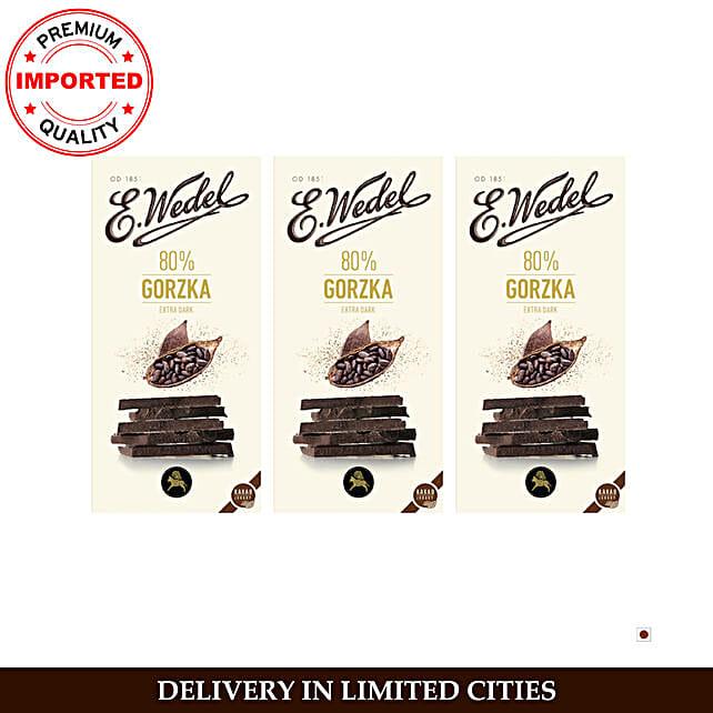Wedel Dark 80 Cocoa Chocolate Bar Pack Of 3