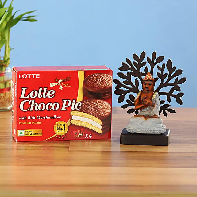 Welcome Buddha Idol & Choco Pie Combo