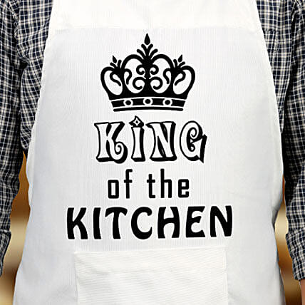 "Printed text Apron ""King of the kitchen"" for Dad"