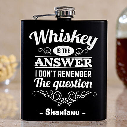 Whiskey Is The Answer Personalised Hip Flask:Premium Personalised Gifts